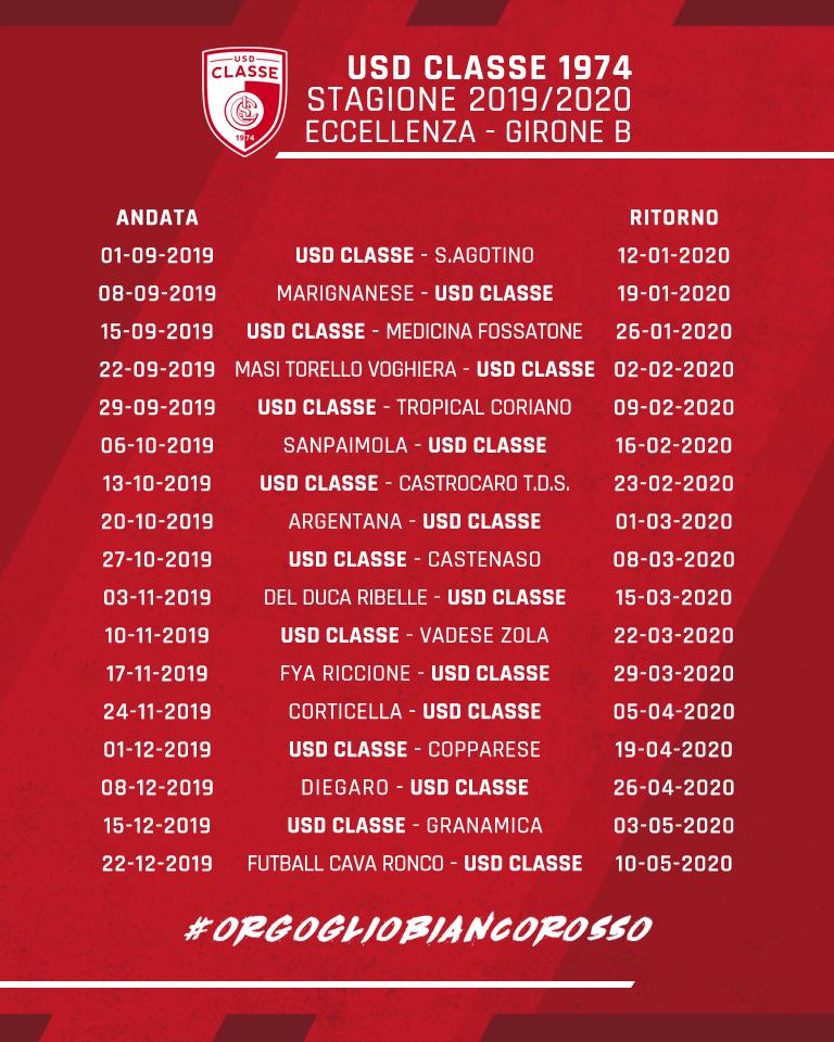 Calendario Eccellenza Girone B.Calendario 19 20 V2 Final Usd Classe